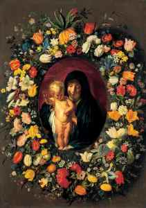 The Virgin and Child in a Garland of Flowers